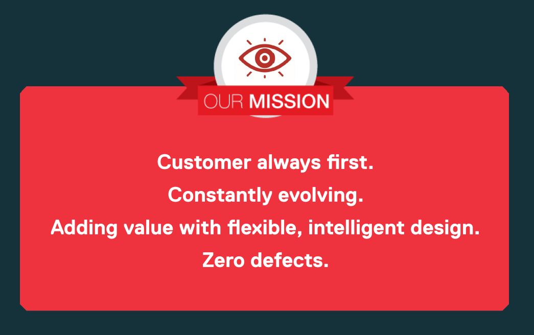 Our Mission: Customer always first. Constantly evolving. Adding value with flexible, intelligent design. Zero defects.